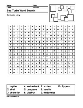Sea Turtle Word Search Printable
