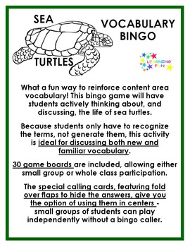 Sea Turtles Vocabulary Bingo