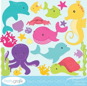 Sea animal clipart commercial use, vector graphics, digita