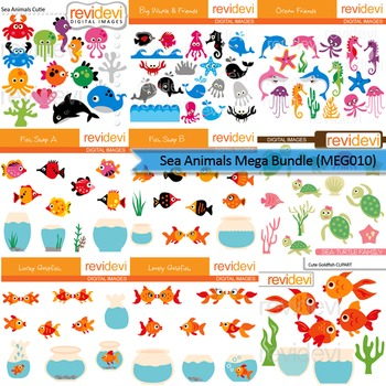 Sea animals clip art mega bundle (9 packs)