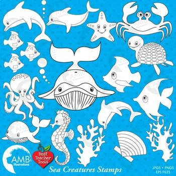 Clipart, Digital Stamps, Sea creatures digital outline, bl