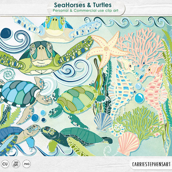 SeaHorse & Turtles Clip Art, Ocean Animals, Under the Sea