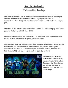 Seahawks Informative reading and writing