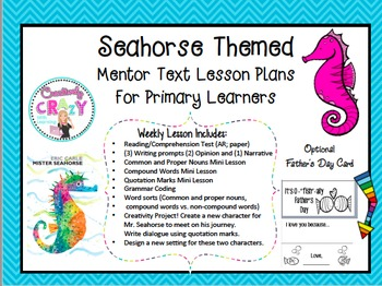 Seahorse Themed Mentor Lesson Plans With Father's Day Card