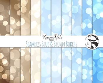 Seamless Blue and Brown Bokeh Digital Paper Set