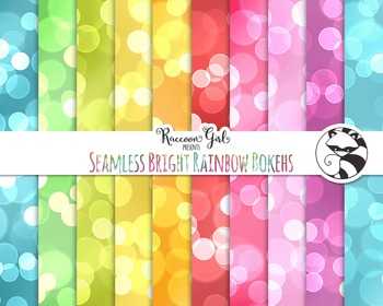 Seamless Bright Rainbow Bokeh Digital Paper Set