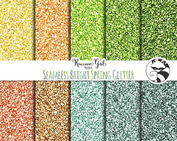 Seamless Bright Spring Glitter Digital Paper Set