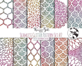Seamless Glitter Pattern Set #2 in Pastel Rainbow Colors D