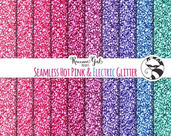 Seamless Hot Pink and Electric Glitter Digital Paper Set