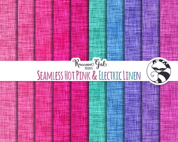 Seamless Hot Pink and Electric Linen Digital Paper Set