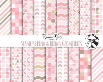 Seamless Pink and Brown Geometric Digital Paper Set
