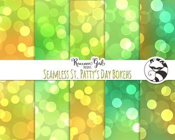 Seamless St. Pattys Day Bokeh Digital Paper Set