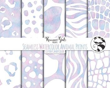 Seamless Watercolor Animal Prints