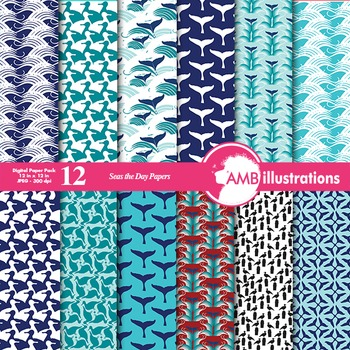 Digital Papers -Whale digital paper and backgrounds, Nauti