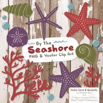 Seashore Shells & Coral Clipart in Autumn