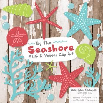 Seashore Shells & Coral Clipart in Fresh Boy
