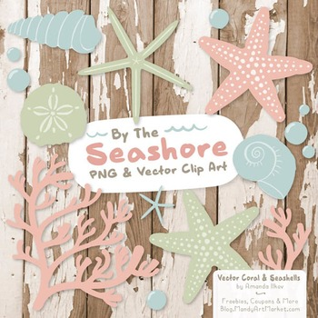 Seashore Shells & Coral Clipart in Grandmas Garden