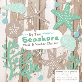 Seashore Shells & Coral Clipart in Mint