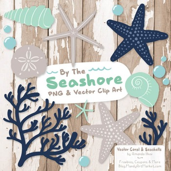 Seashore Shells & Coral Clipart in Navy & Mint