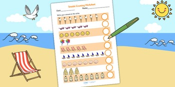Seaside Themed Counting Worksheet