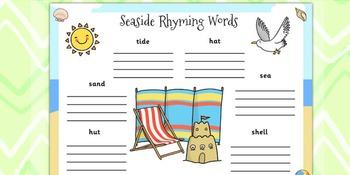 Seaside Themed Rhyming Words Worksheet