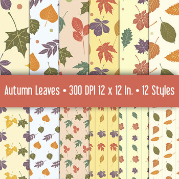Season Autumn Leaf Patterns for Backgrounds and Crafts • P