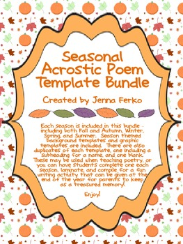 Seasonal Acrostic Poem Template Bundle