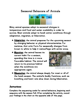 Seasonal Behaviors and Adaptations Handout (for with seque
