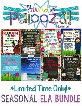 Seasonal Bundle for Grades 4-8 Reading & ELA ~ Bundle Palo