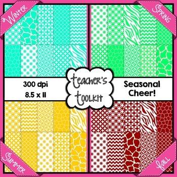 Seasonal Cheer Digital Background Papers Bundle {8.5 x 11}