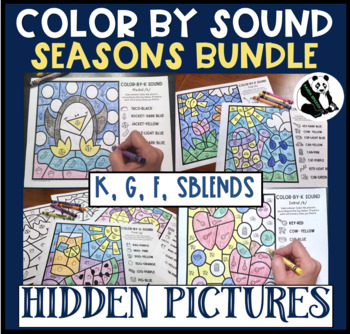 Seasonal Hidden Pics Color by Sound for K, G, F, & SBLENDS