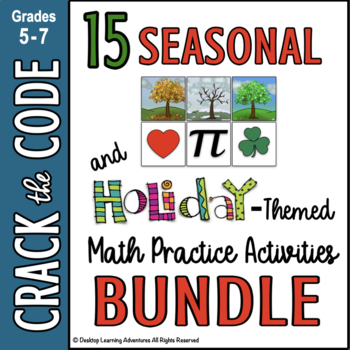 Seasonal & Holiday: Math Practice Crack the Codes Bundle by Pamela Kranz - Desktop Learning Adventures