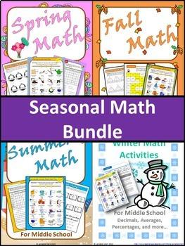 Seasonal Math Bundle for Middle School Math Review