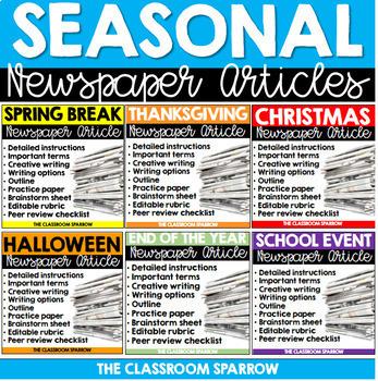 Seasonal Newspaper Article Bundle (peer review, template,