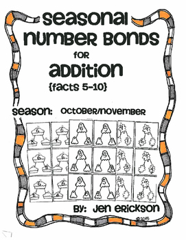Seasonal Number Bonds for Addition:  OCTOBER/NOVEMBER