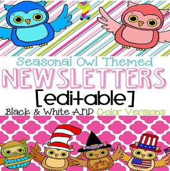Seasonal Owl Themed Editable Newsletter Template {Black an