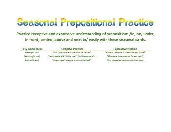 Seasonal Preposition Practice