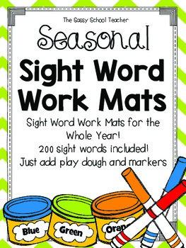Seasonal Sight Word Work Mats