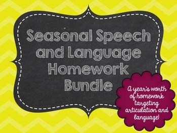 Seasonal Speech and Language Homework Bundle