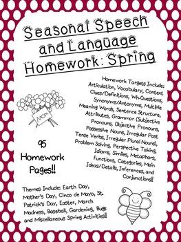 Seasonal Speech and Language Homework: Spring
