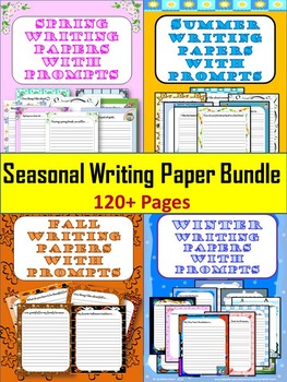 Seasonal Theme Writing Papers With Prompts