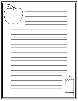 Seasonal Themed Monthly Stationery - Black and White Lined FREE!