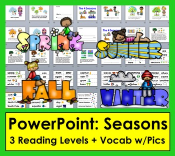Seasons PowerPoint Presentation with 3 Reading Levels + Il