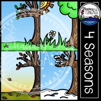 Seasons Background Clipart Bundle