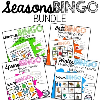 Seasons Leveled Bingo Game Bundle for Special Education and Autism
