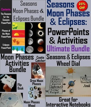 Seasons, Eclipses, & The Moon Phases Activities (Space Sci