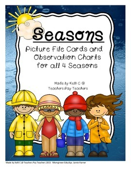 Seasons Observation Charts and File Picture Cards for ESL