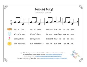 Seasons Song with Seasonal Iconic Notation Cards - ta ti-t