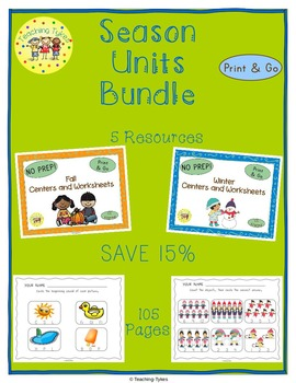 Seasons Units Centers and Printables Bundle