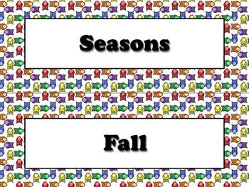 Seasons Vocabulary Calendar Strips - Fall Spring Summer Wi